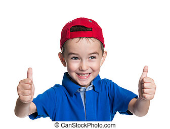 Thumbs up Portrait of happy boy - Thumbs up Portrait of...
