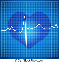 Healthy Heart cardiogram on background in the box to the ECG
