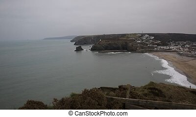 View of Portreath North Cornwall England UK between St Agnes...