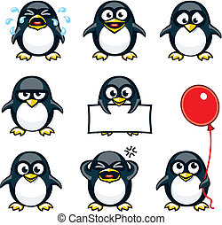 Smiley penguins individually grouped for easy copy-n-paste