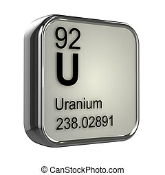 3d Uranium element - 3d render of uranium element design