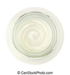 Jar of fresh yogurt, top view, isolated on white