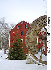 Old mill - Old water mill in the winter. Central Indiana.