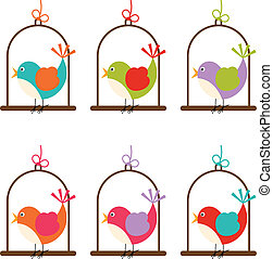 Bird cage colorful digital - Scalable vectorial image...