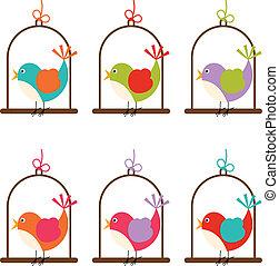 pássaro, gaiola, coloridos, digital