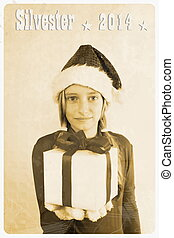 Retro postcard - girl in santa claus hat giving gift,...