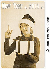 Retro postcard - girl in santa claus hat and show sign,...