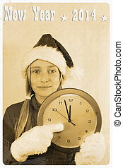Retro postcard - girl in santa claus hat with clock,...
