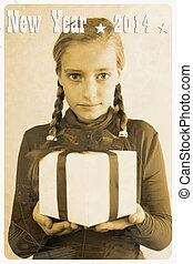 Retro postcard with girl and gift, vertical