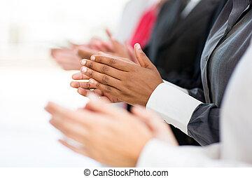 empresa / negocio, grupo, aplaudiendo