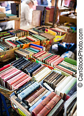 Old books at flea market