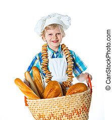 Little baker - Little Cook With A Backet With Bread Isolated...