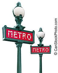 Paris metro sign isolated on white