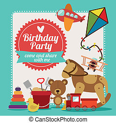 Birthday party design over blue background,vector...