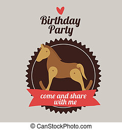 Birthday party design over beige background,vector...