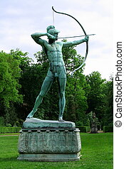 Sanssouci garden sculpture of archer in Potsdam, vertical