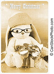 Retro postcard - soft toy with glasses, hat and gift,...