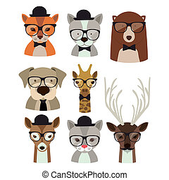 Animal hipster design over background,vector illustration