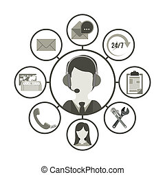 Call center design over white background, vector...