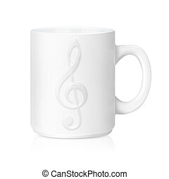 White ceramic mug with music sign, Isolated on a white with...