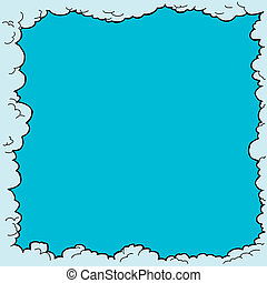 Cloud Border - Hand drawn cloudy border with blank copy...