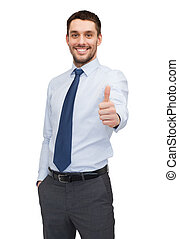 handsome buisnessman showing thumbs up - business and office...