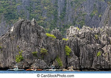 Limestone cliff in Palawan - Huge limestone cliff coastline...