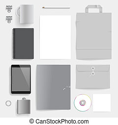 Corporate identity template on light gray background. Use...