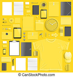 Corporate identity template on yellow background. Use layer...