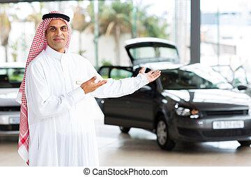 arabian car salesman doing welcoming gesture - friendly...
