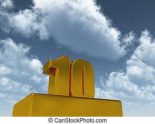 ten - the number ten - 10 - in front of blue sky - 3d...