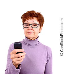 Attractive mature woman with mobile phone, isoliert