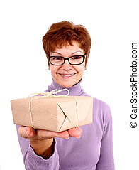 Happy mature woman with surprise, isoliert - Attractive,...