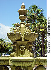 large tiered water fountain with palm trees - large tiered...