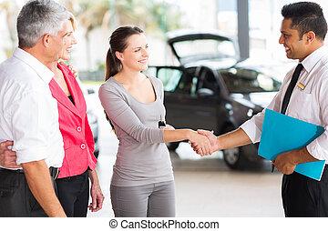 顧客, 握手, 年輕, 成人, 車輛, 推銷員