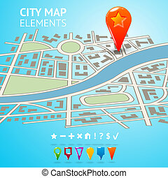 City map with navigation markers - City street road route...