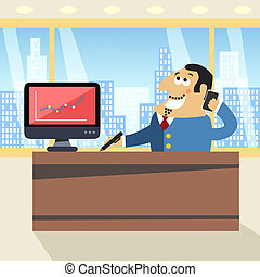 Boss in office - Business life happy boss in office with...