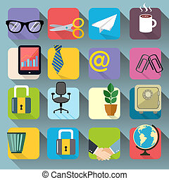Business Office Stationery Icons Set - Business office...