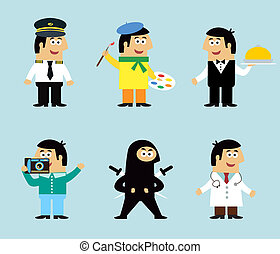 Professions icons set of pilot artist waiter photographer...
