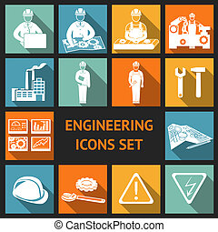 Flat Engineering Icons Set - Engineering construction and...