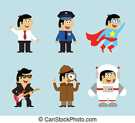 Professions icons set of manager policeman superman musician...