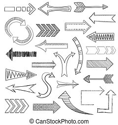 Arrows icons set sketch - Different directions arrows sketch...