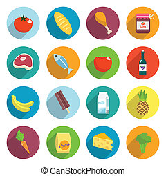 Supermarket Foods Flat Icons Set - Online supermarket foods...