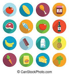 Supermarket Foods Flat Icons Set - Online supermarket foods...