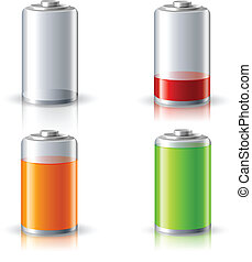 Realistic Battery Status Icons Set - Realistic 3d battery...