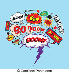 Comic speech bubble design element boom splash bomb symbol...