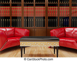 Bookcase. High resolution image interior. 3d illustration...