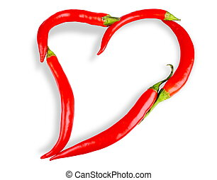 Heart of chili pepper isolated on white