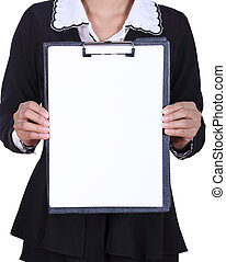 close-up business woman holding a blank clipboard isolated on white background