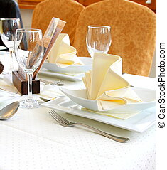 Decorated table in restaurant waiting for two person